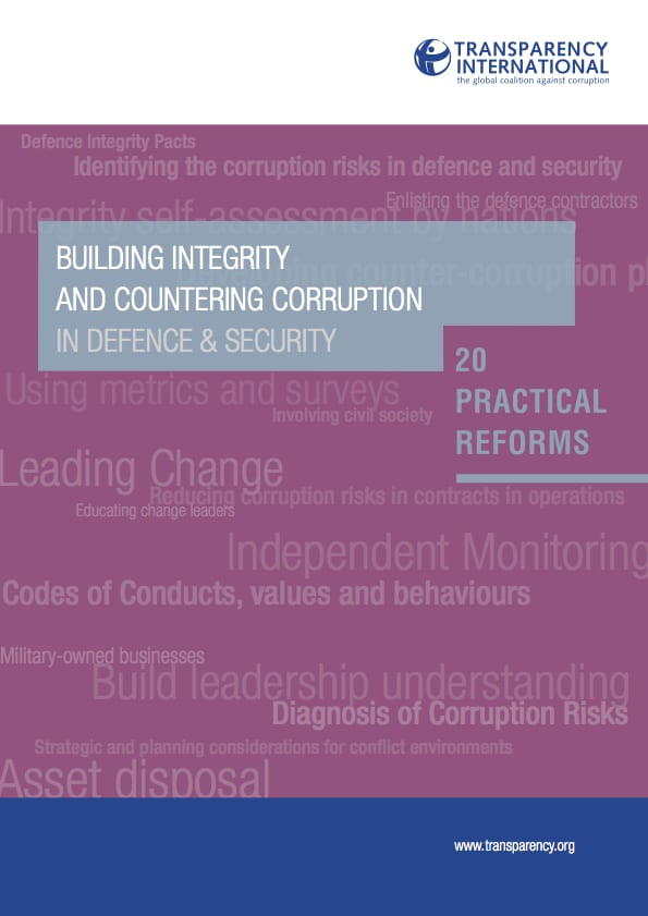 PDF cover of Building integrity and reducing corruption in defence & security: 20 practical reforms