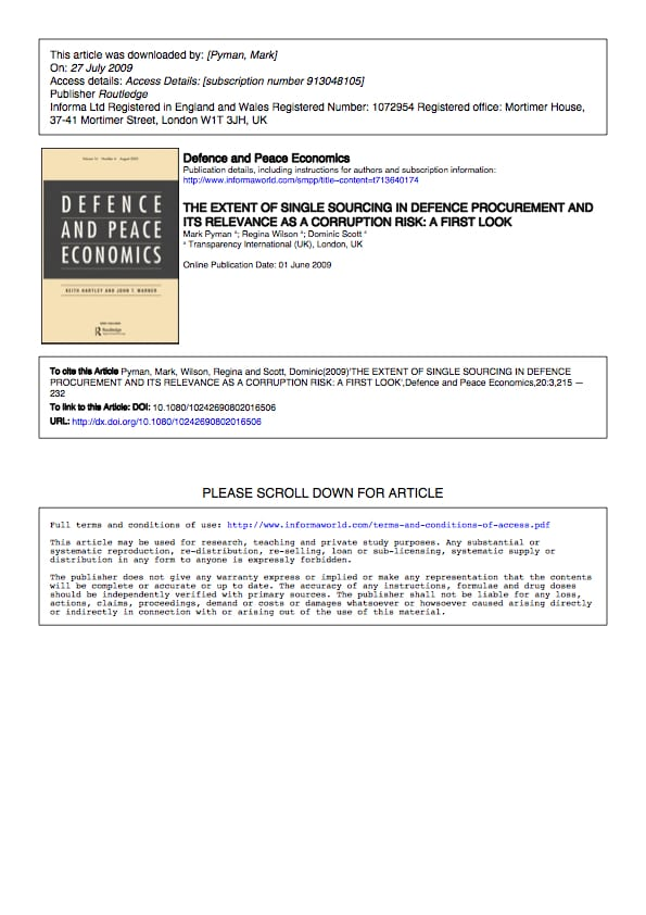 PDF cover of The extent of single sourcing in defence procurement and its relevance as a corruption risk: A first look