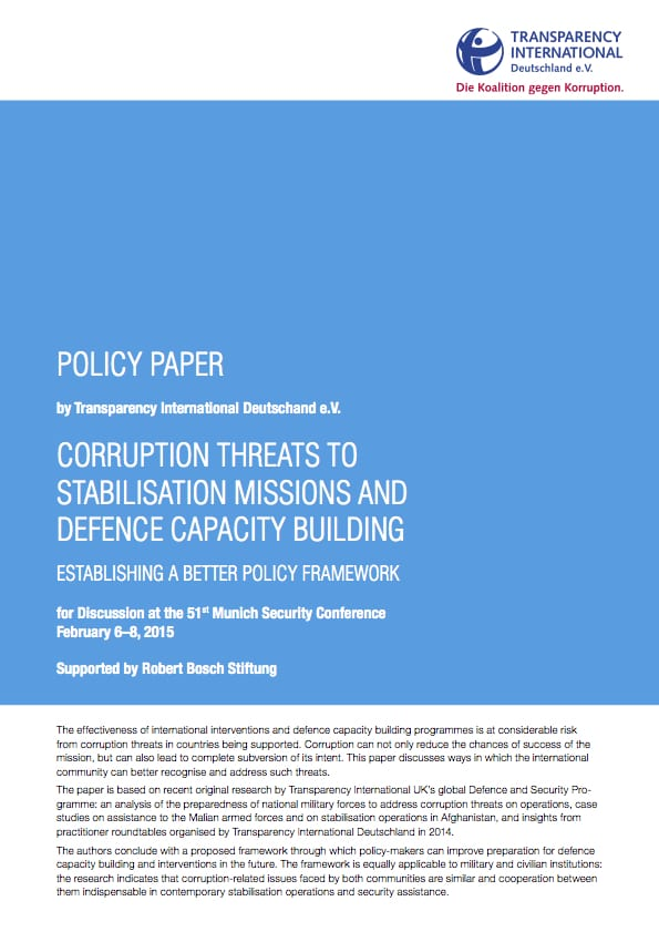 PDF cover of MSC 2015: Corruption Threats to Stabilisation Missions and Defence Capacity Building