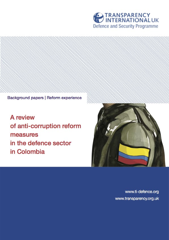 PDF cover of A review of anti-corruption reform measures in the defence sector in Colombia