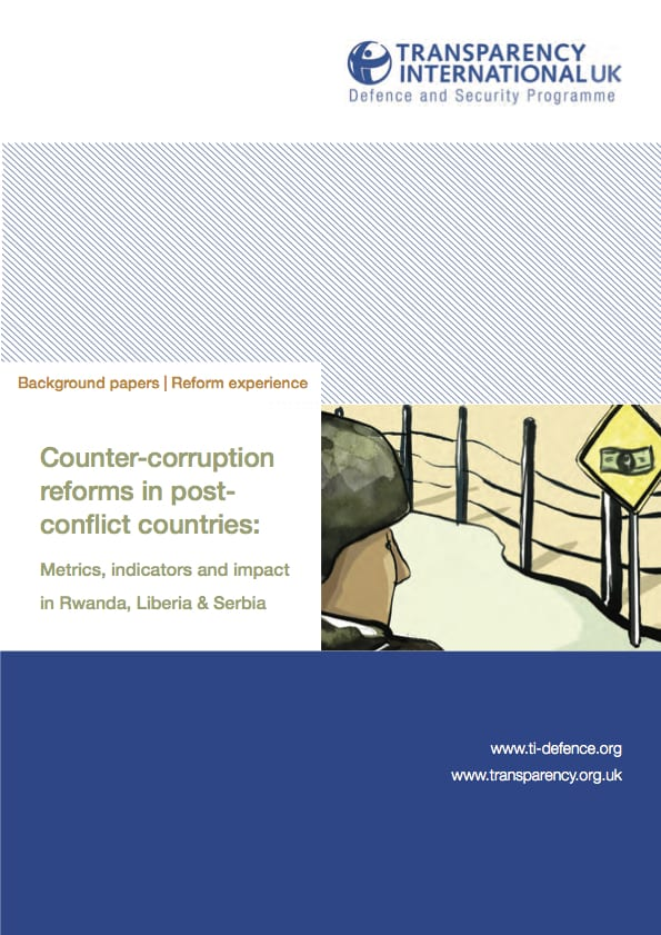 PDF cover of Counter corruption reform in post-conflict countries