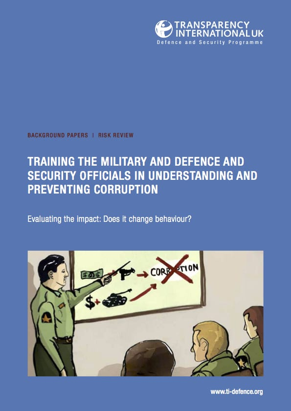 PDF cover of Training the military and defence and security officials in understanding and preventing corruption