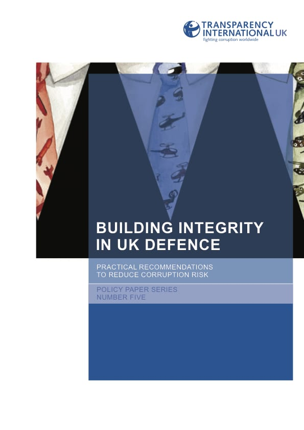 PDF cover of Building Integrity in UK defence: Practical recommendations to reduce corruption risk