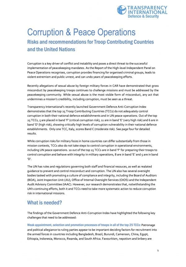 PDF cover of Corruption & Peace Operations: Risks and recommendations for Troop Contributing Countries and the United Nations