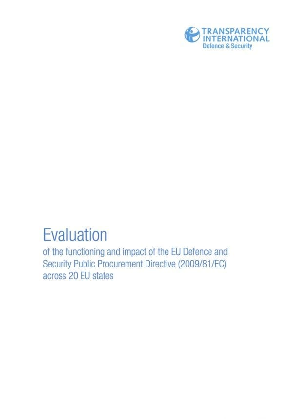 PDF cover of Evaluation of the functioning and impact of the EU Defence and Security Public Procurement Directive (2009/81/EC) across 20 EU states