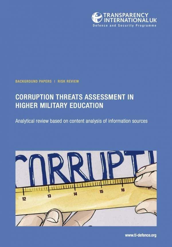 PDF cover of Corruption Threats Assessment in Higher Military Education