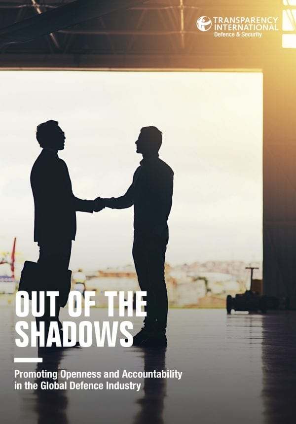 PDF cover of Out of the Shadows: Promoting Openness and Accountability in the Global Defence Industry