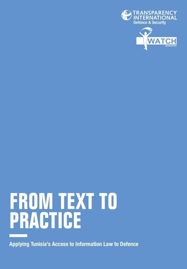 PDF cover of From Text to Practice: Applying Tunisia's Access to Information Law to Defence